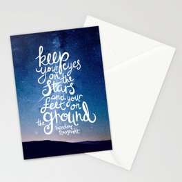 Eyes on the stars quote white lettering Stationery Cards