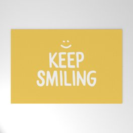 Keep Smiling Quote - Yellow Welcome Mat