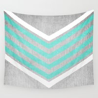 calvin Wall Tapestries featuring Teal and White Chevron on Silver Grey Wood by Tangerine-Tane