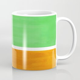 Pastel Mint Green Yellow Ochre Rothko Minimalist Mid Century Abstract Color Field Squares Coffee Mug