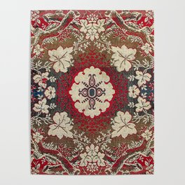 Botanical Embroidery III // Flowery Colorful Red Blue Green Yellow Tan Ornate Accent Rug Pattern Poster