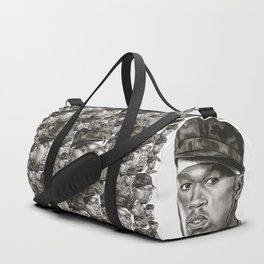 50 Cent in Black and White Duffle Bag