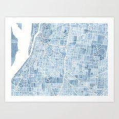 Memphis Tennessee blueprint watercolor map Art Print