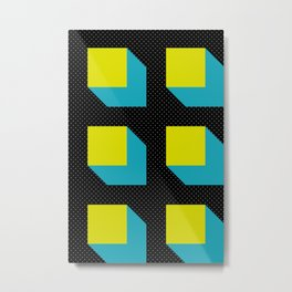Floating Parallelepipeds in a Black Space Metal Print