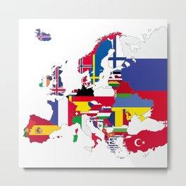 Europe flags white Metal Print
