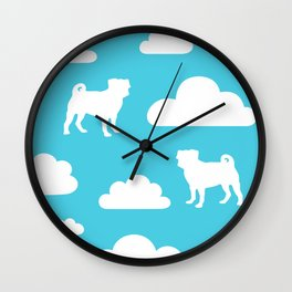 Pug Clouds (white and blue) Wall Clock