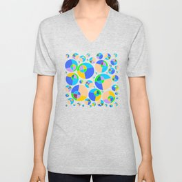 Bubble blue & orange Unisex V-Neck
