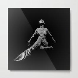 0134-DJA Black and White Stripes Beautiful Woman Yoga Pose Metal Print