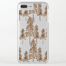 Pine Trees – Sepia Palette Clear iPhone Case