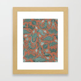 Deep Sea Cryptids on Red Framed Art Print