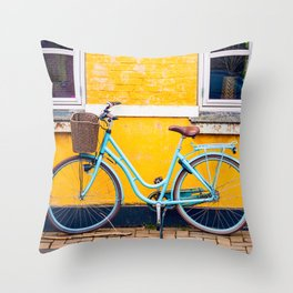 Bike and yellow Throw Pillow