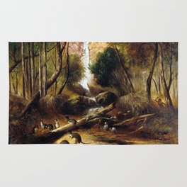 John Skinner Prout Bush landscape with waterfall and an Aborigine stalking native animals, New South Rug