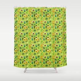 Earth Day Flowers (Green) Shower Curtain