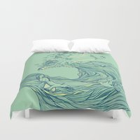 line Duvet Covers featuring Ocean Breath by Huebucket