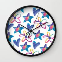 girly Wall Clocks featuring Girly by mariorigami