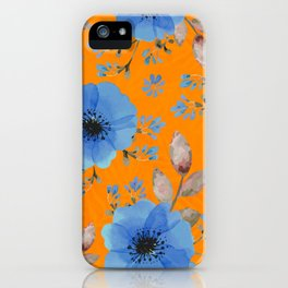 Blue flowers with orange iPhone Case