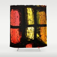 stained glass Shower Curtains featuring Stained glass by Pirmin Nohr