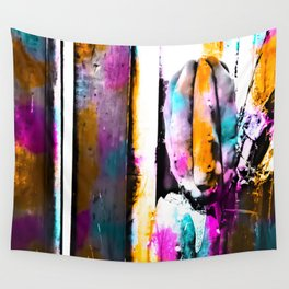 cactus with wooden background and colorful painting abstract in orange blue pink Wall Tapestry