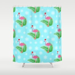 Flamingo at winter with snowflakes Shower Curtain