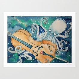 Kraken Plays the Cello Art Print