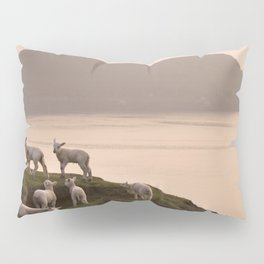 Little lambs on a cliff Pillow Sham