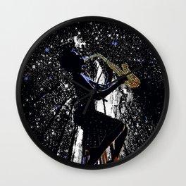 LADY JAZZ SAXOPHONE MUSIC AMONG THE STARS Wall Clock
