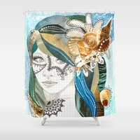 aqua Shower Curtains featuring Aqua by Jenndalyn