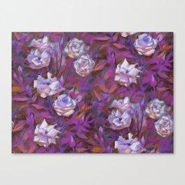 White roses, purple leaves Canvas Print
