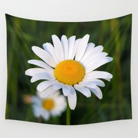 daisies Wall Tapestries featuring Daisies by Rose Etiennette