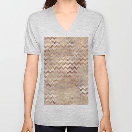 Elegant chic faux gold chevron marble pattern Unisex V-Neck