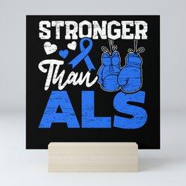 Stronger Than ALS Awareness Ribbon Supporter Mini Art Print