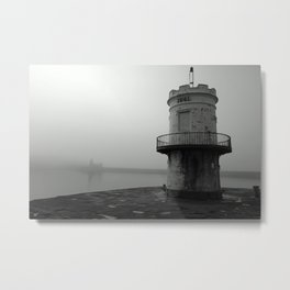 misty harbour lighthouse Metal Print