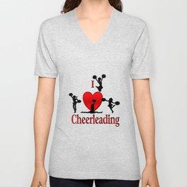 I Heart Cheerleading Unisex V-Neck