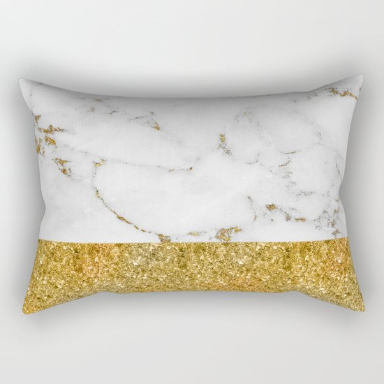Luxury and glamorous gold glitter and white and gold marble Rectangular Pillow