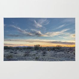 Sunset with Hot Air Balloons in the Distance Outside Phoenix Rug