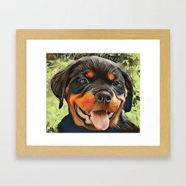Chubby Rottweiler Puppy Framed Art Print