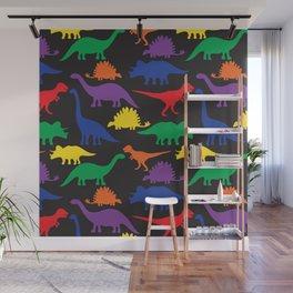 Dinosaurs - Black Wall Mural
