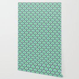 Green Pastel Art Deco Fan Pattern Wallpaper