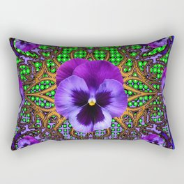 DECORATIVE PURPLE PANSIES TEAL ART Rectangular Pillow