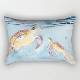 Take A Breath Sea Turtle Rectangular Pillow