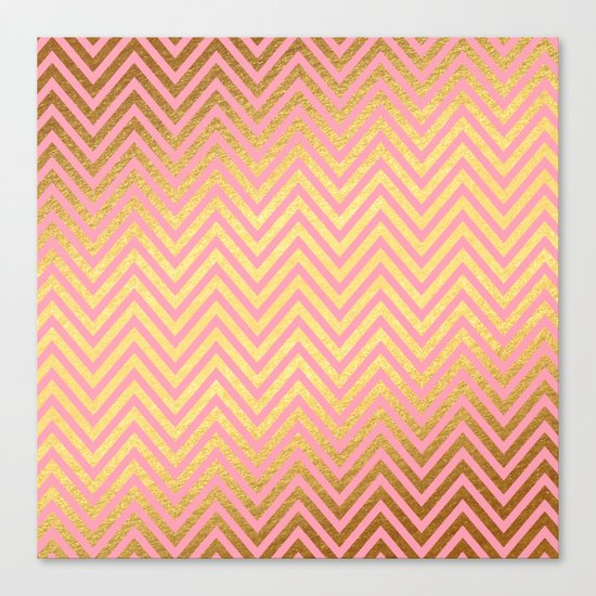 Chevron Herringbone pattern rosegold- gold metal glitter on pink watercolor Canvas Print