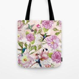 Vintage Roses and Hummingbird Pattern Tote Bag