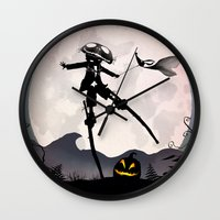 jack skellington Wall Clocks featuring Jack Skellington Kid by Andy Fairhurst Art