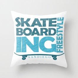 Skateboarding Freestyle San Diego Throw Pillow