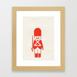 English toy soldier with sword, drawing with letterpress effect. Framed Art Print