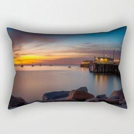 Here she comes again the sun rising at Port San Luis vila Beach Rectangular Pillow