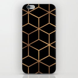 Black and Gold - Geometric Cube Design iPhone Skin