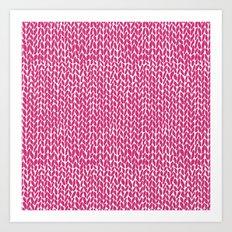 Hand Knit Hot Pink Art Print