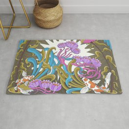 Water flower in blue and pink Rug