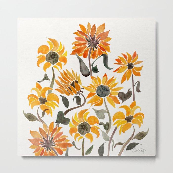 Sunflower Watercolor – Yellow & Black Palette Metal Print